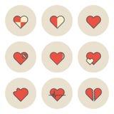 Icono plano de la circulación para el amor y Valentine Concept del corazón Fotos de archivo libres de regalías