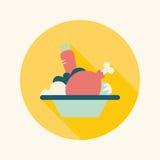 Icono plano de la ensalada con la sombra larga Fotografía de archivo libre de regalías