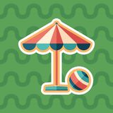 Icono plano de la etiqueta engomada del parasol y de la bola con el fondo del color Imagenes de archivo