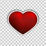Icono plano de la etiqueta engomada roja del corazón del vector en el fondo blanco stock de ilustración