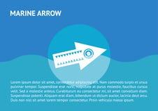 Icono plano de la flecha en el mar Fotos de archivo libres de regalías