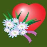Icono plano de la flor del día del ` s de la tarjeta del día de San Valentín con la sombra larga, Fotos de archivo libres de regalías