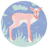 Icono plano de la historieta de los ciervos felices de la Navidad Ejemplo plano del arte del reno Foto de archivo