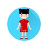 Icono plano de la muchacha china en el círculo azul con la sombra larga ilustración del vector