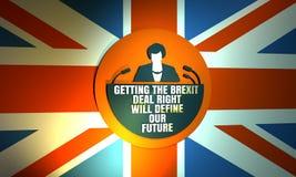 Icono plano de la mujer con la cita de Theresa May Fotografía de archivo