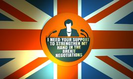Icono plano de la mujer con la cita de Theresa May Foto de archivo