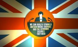 Icono plano de la mujer con la cita de Theresa May Imágenes de archivo libres de regalías