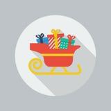 Icono plano de la Navidad Trineo de Papá Noel Imagen de archivo libre de regalías