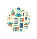Icono plano de la sustancia química de los objetos y de la investigación médica Imagenes de archivo