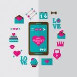 Icono plano de la tarjeta del día de San Valentín, vector Fotografía de archivo