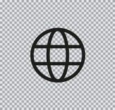 Icono plano de la tierra del icono del vector en fondo transparente fotografía de archivo
