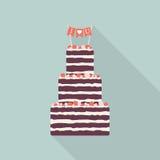Icono plano de la torta con la sombra larga Abra la empanada Fotos de archivo libres de regalías