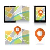 Icono plano de la ubicación en smartphone Concepto móvil de la navegación GPS Imagenes de archivo