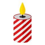 Icono plano de la vela de la Navidad aislado en blanco libre illustration
