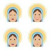 Icono plano de la Virgen María santa stock de ilustración