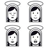 Icono plano de la Virgen María santa ilustración del vector