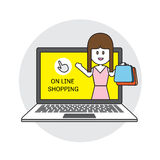Icono plano de las compras del comercio electrónico del negocio del concepto del ejemplo en línea del vector Imagen de archivo libre de regalías