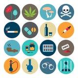 Icono plano de las drogas narcóticas Fotografía de archivo libre de regalías