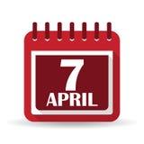 Icono plano de los apps del calendario 7 April World Health Day Imagen de archivo libre de regalías