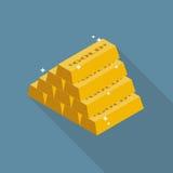 Icono plano de los lingotes del oro Imágenes de archivo libres de regalías