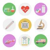Icono plano de nueve colores fijado - médico Imagenes de archivo