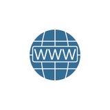 Icono plano de WWW y de Internet del globo, navegador del sitio web ilustración del vector