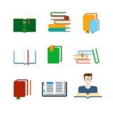 Icono plano del app del web de la educación del vector: lectura del libro de la biblioteca de la liberación Foto de archivo