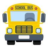 Icono plano del autobús escolar aislado en blanco Fotografía de archivo libre de regalías