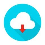 Icono plano del círculo de la carga por teletratamiento de la nube stock de ilustración