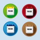 Icono plano del calendario con marzo Imagen de archivo libre de regalías
