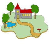 Icono plano del castillo del edificio del vector en blanco Foto de archivo libre de regalías