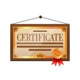 Icono plano del certificado del color en el fondo blanco ilustración del vector
