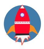Icono plano del cohete Concepto de lanzamiento Desarrollo de proyecto Imagen de archivo