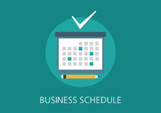 Icono plano del concepto del horario del negocio Fotografía de archivo