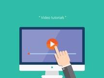 Icono plano del concepto video de los tutoriales Fotos de archivo libres de regalías