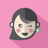 Icono plano del diseño de la cara de la sola mujer libre illustration