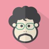 Icono plano del diseño de la cara del solo hombre ilustración del vector