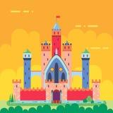 Icono plano del diseño del castillo mágico del cuento de hadas de la historieta libre illustration