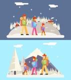 Icono plano del diseño del concepto del viaje de la familia del invierno Imagen de archivo libre de regalías