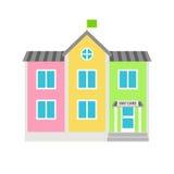 Icono plano del edificio colorido de la guardería ilustración del vector