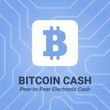 Icono plano del efectivo de Bitcoin con título en fondo del chipset Imagenes de archivo