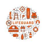 Icono plano del esquema del salvavidas Imágenes de archivo libres de regalías