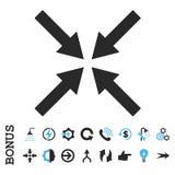 Icono plano del Glyph de las flechas de centro con prima Foto de archivo