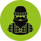 Icono plano del granjero/del trabajador - hombre con un bigote el llevar de la barba en una camisa de tela escocesa, un mono de l imagen de archivo