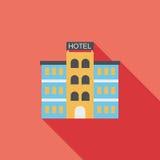 Icono plano del hotel con la sombra larga Foto de archivo libre de regalías
