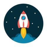 Icono plano del lanzamiento de Rocket Imagenes de archivo