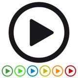 Icono plano del medios botón de reproducción video para Apps y los sitios web - ejemplo colorido del vector - aislado en blanco ilustración del vector