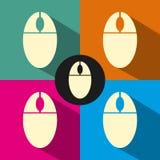 Icono plano del ratón en fondo del color Imágenes de archivo libres de regalías