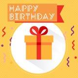 Icono plano del regalo de cumpleaños con la sombra larga Imagen de archivo libre de regalías