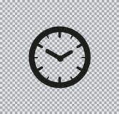 Icono plano del reloj del vector en fondo transparente foto de archivo